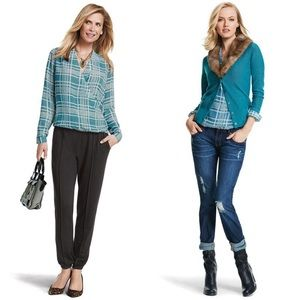 CAbi Windowpane Blouse